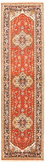 Bordered  Traditional Brown Runner rug 10-ft-runner Indian Hand-knotted 344643