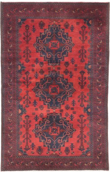 GeometricTribal Red Area rug 3x5 Afghan Hand-knotted 204234