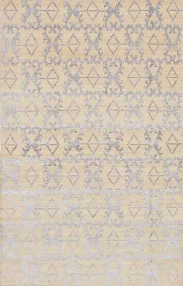 Transitional Ivory Area rug 5x8 Indian Hand-knotted 222050