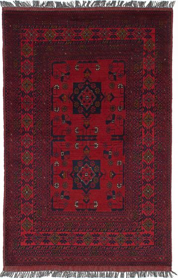 Geometric  Tribal Red Area rug 3x5 Afghan Hand-knotted 236124