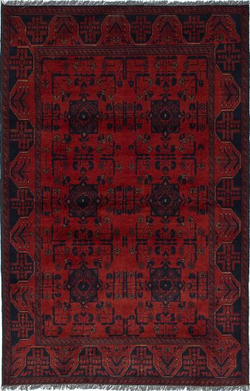Traditional  Tribal Red Area rug 3x5 Afghan Hand-knotted 236248