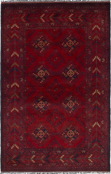 Traditional  Tribal Red Area rug 3x5 Afghan Hand-knotted 236283