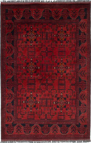 Traditional Red Area rug 4x6 Afghan Hand-knotted 236389