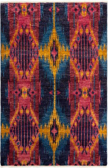Casual  Transitional Blue Area rug 5x8 Indian Hand-knotted 280286