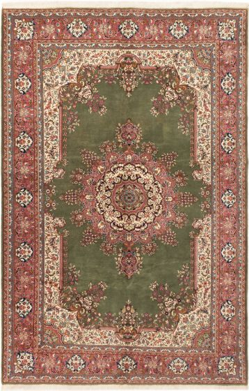 Bordered  Traditional Green Area rug Unique Turkish Hand-knotted 281077