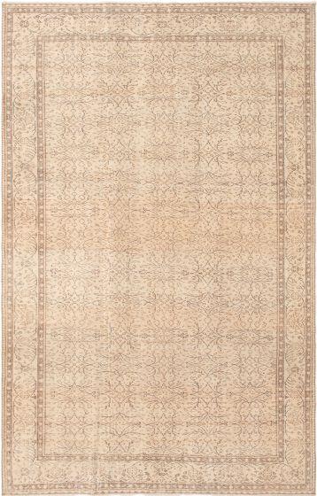 Bordered  Vintage Ivory Area rug 6x9 Turkish Hand-knotted 295839