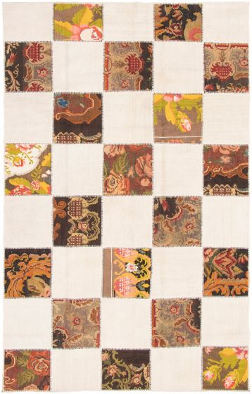 Bohemian  Transitional Ivory Area rug 6x9 Turkish Flat-weave 297958