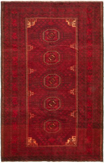 Bordered  Tribal Red Area rug 6x9 Turkish Hand-knotted 318744
