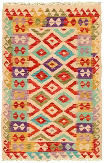 Bordered  Geometric Ivory Area rug 3x5 Turkish Flat-weave 330225
