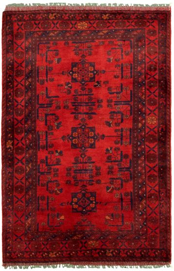Bordered  Tribal Red Area rug 3x5 Afghan Hand-knotted 330264