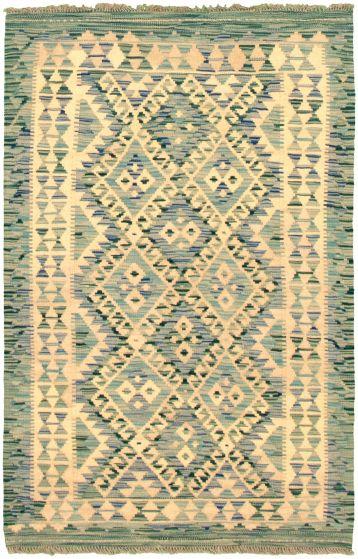 Bordered  Geometric Ivory Area rug 3x5 Turkish Flat-weave 330604