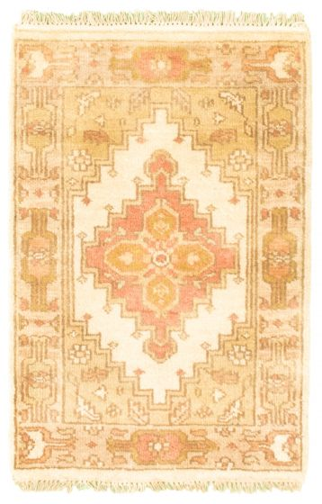 Bordered  Traditional Green Area rug 2x3 Indian Hand-knotted 344924