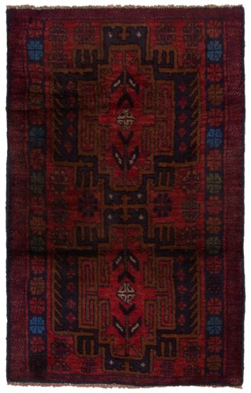 Bordered  Tribal Red Area rug 3x5 Afghan Hand-knotted 360568