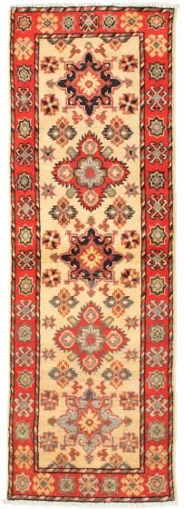 Bordered  Traditional Ivory Runner rug 6-ft-runner Afghan Hand-knotted 331505