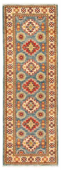 Bordered  Traditional Blue Runner rug 6-ft-runner Afghan Hand-knotted 331509