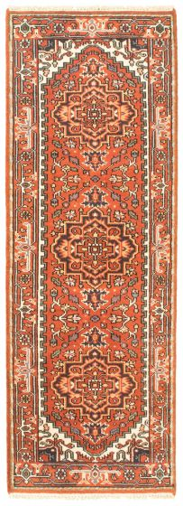 Bordered  Traditional Brown Runner rug 8-ft-runner Indian Hand-knotted 344551