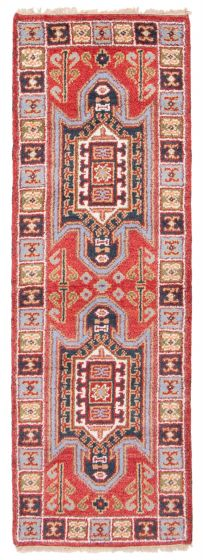 Bordered  Traditional Red Runner rug 7-ft-runner Indian Hand-knotted 363196
