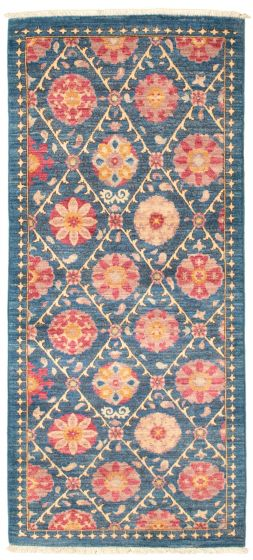 Floral  Transitional Blue Runner rug 6-ft-runner Pakistani Hand-knotted 342141