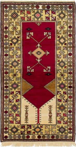 Bordered  Traditional Red Area rug 4x6 Turkish Hand-knotted 293767