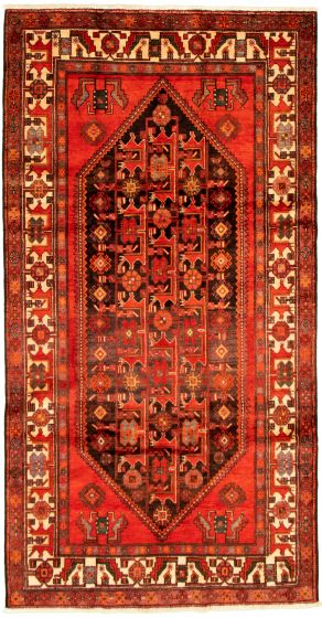 Bordered  Tribal Red Area rug Unique Turkish Hand-knotted 322290