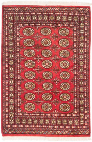 Traditional Red Area rug 3x5 Pakistani Hand-knotted 205101