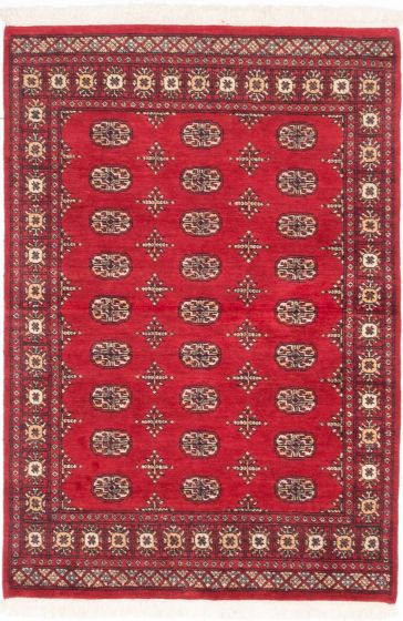 Traditional Red Area rug 3x5 Pakistani Hand-knotted 205102