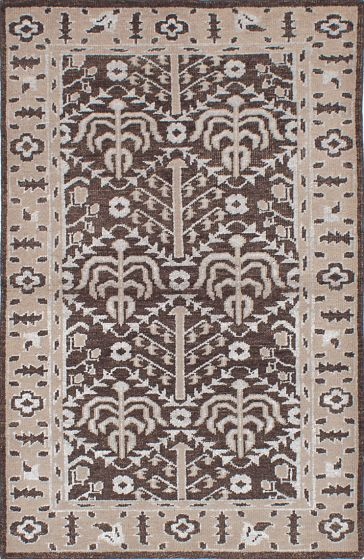 Traditional Brown Area rug 5x8 Indian Hand-knotted 222033
