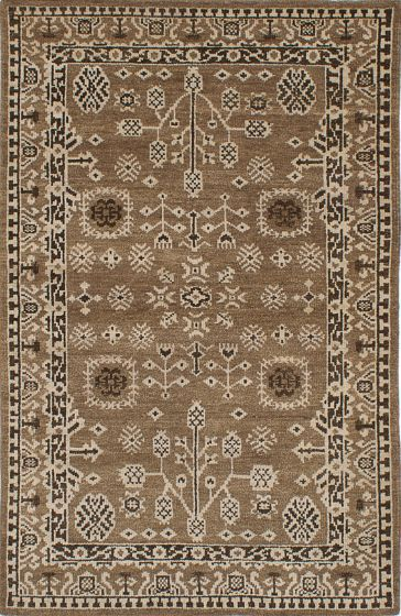 Traditional Green Area rug 5x8 Indian Hand-knotted 222104