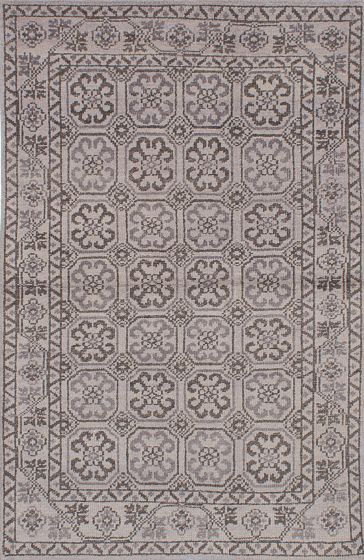 Traditional Grey Area rug 5x8 Indian Hand-knotted 222105