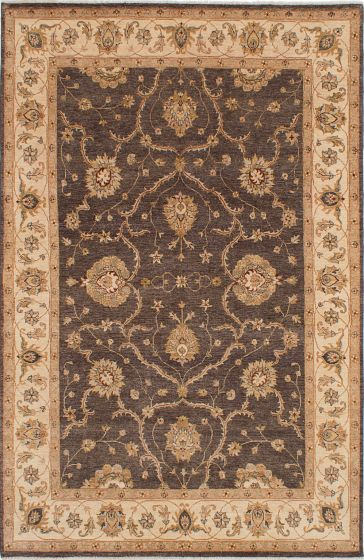 Traditional Brown Area rug 6x9 Indian Hand-knotted 223691