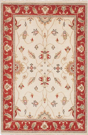 Traditional Ivory Area rug 3x5 Indian Hand-knotted 223723
