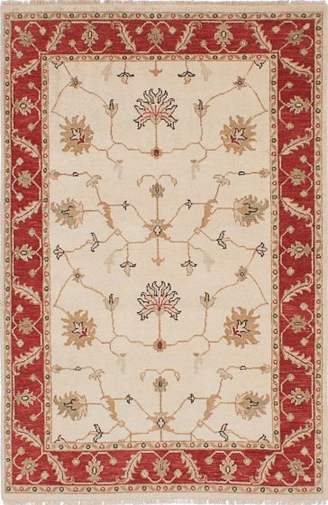 Traditional Ivory Area rug 3x5 Indian Hand-knotted 223930
