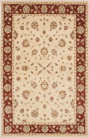 Traditional Ivory Area rug 6x9 Indian Hand-knotted 223947