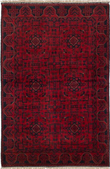 Traditional Red Area rug 3x5 Afghan Hand-knotted 234592