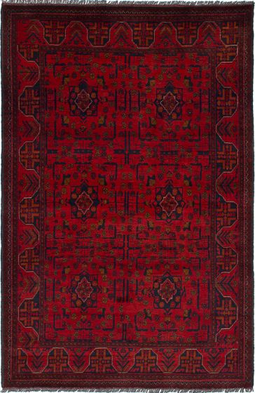 Traditional Red Area rug 4x6 Afghan Hand-knotted 236261