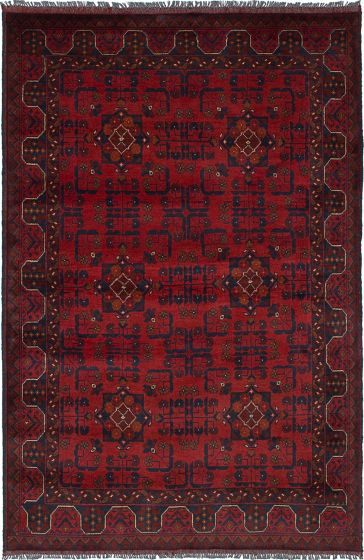 Traditional  Tribal Red Area rug 3x5 Afghan Hand-knotted 236279