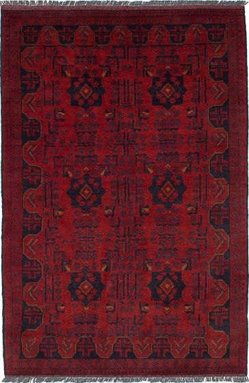 Traditional  Tribal Red Area rug 3x5 Afghan Hand-knotted 236296