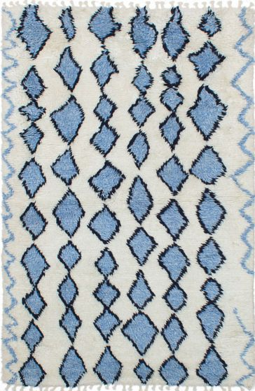 Transitional Ivory Area rug 5x8 Moroccan Hand-knotted 239677