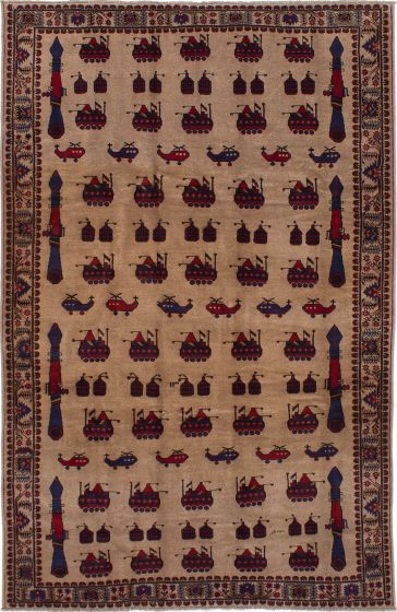 Bordered  Tribal Brown Area rug 6x9 Afghan Hand-knotted 278389