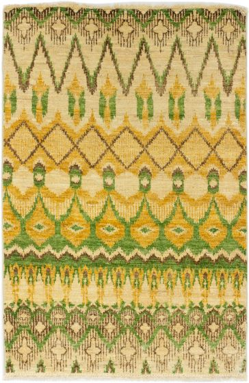Casual  Transitional Ivory Area rug 3x5 Indian Hand-knotted 280024