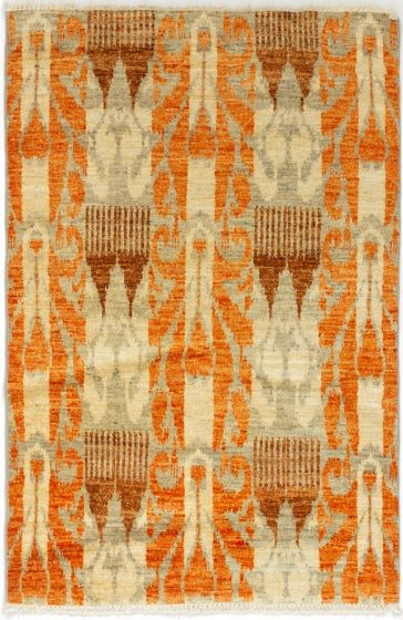 Casual  Transitional Orange Area rug 3x5 Indian Hand-knotted 280035