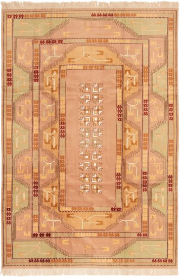 Bordered  Traditional Brown Area rug 6x9 Turkish Hand-knotted 293257
