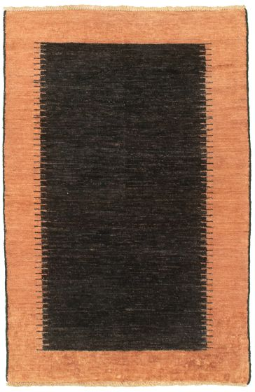 Casual  Transitional Black Area rug 3x5 Pakistani Hand-knotted 330445