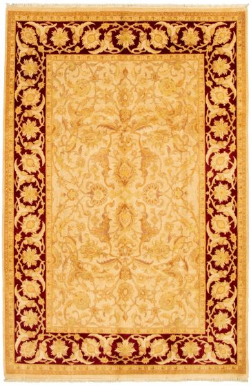 Bordered  Traditional Ivory Area rug 5x8 Pakistani Hand-knotted 330507