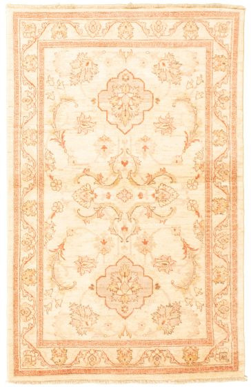 Bordered  Traditional Ivory Area rug 3x5 Afghan Hand-knotted 331594