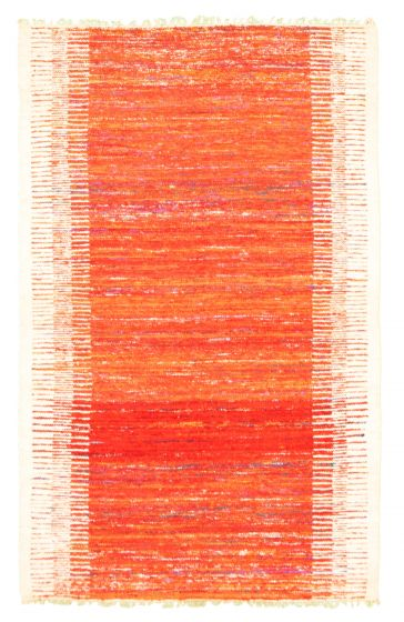 Flat-weaves & Kilims  Transitional Red Area rug 3x5 Indian Flat-weave 344456