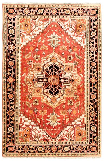 Bordered  Traditional Red Area rug 5x8 Indian Hand-knotted 344615