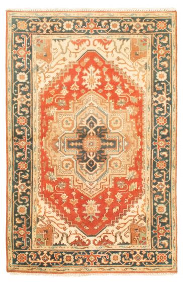 Bordered  Traditional Red Area rug 3x5 Indian Hand-knotted 344835
