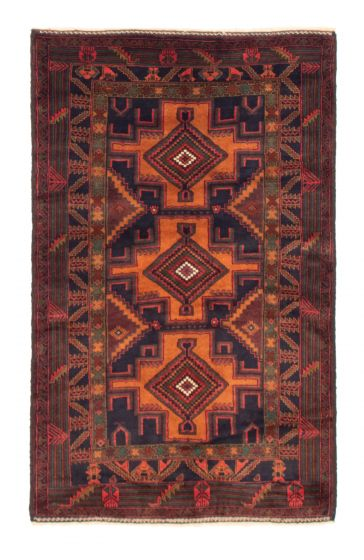 Bordered  Tribal Blue Area rug 4x6 Afghan Hand-knotted 351611