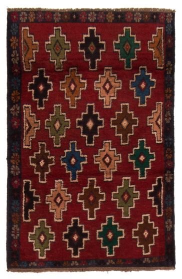 Bordered  Tribal Red Area rug 3x5 Afghan Hand-knotted 357176